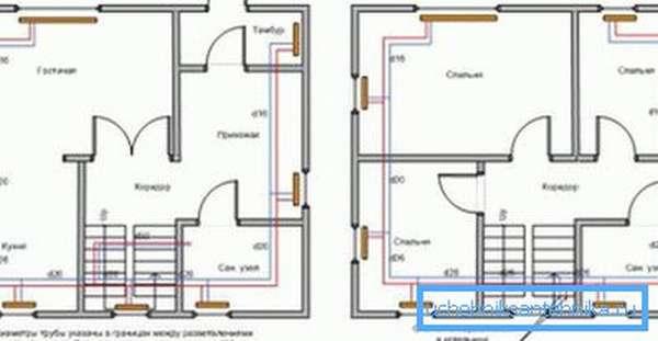 Вот так выглядят схемы отопление частного дома разводка труб. Обратите внимание, что нужно наносить на нее все элементы без исключения