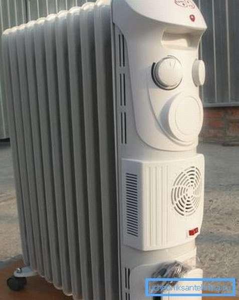 Воздушно-масляный радиатор позволяет быстро распространить тепло по помещению