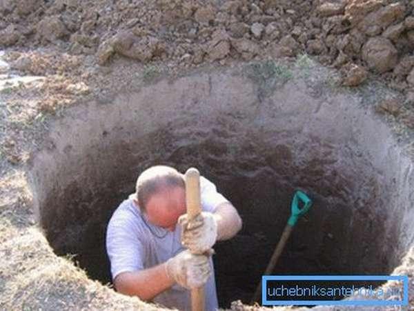 Выкопать колодец можно обычной лопатой.