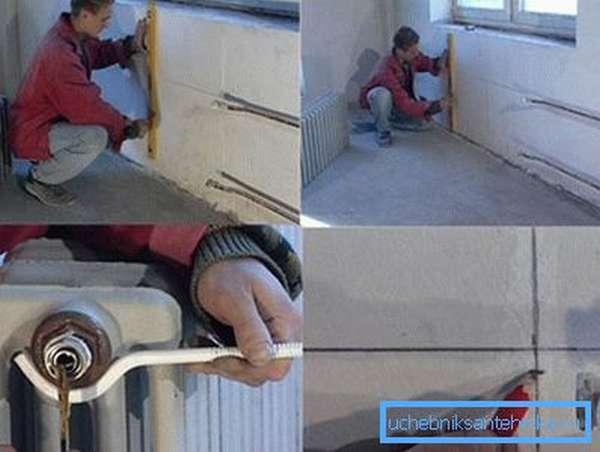 Выполнение разметки на стене и установка монтажных кронштейнов.