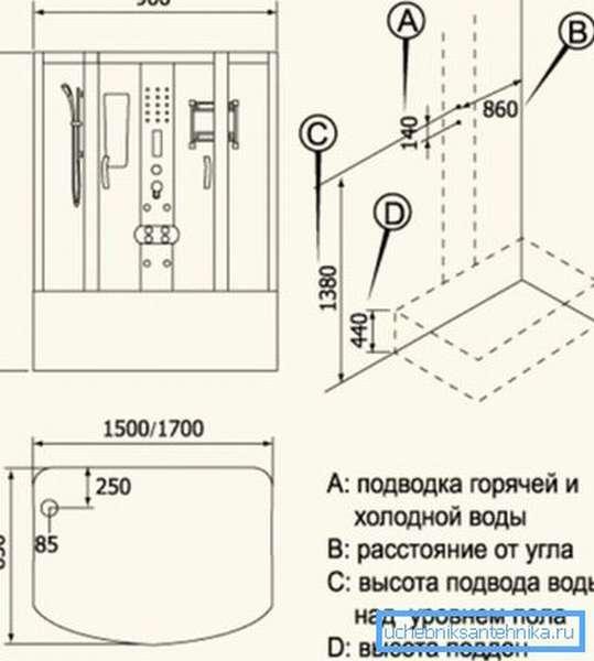 Высота поддона отражена на схеме