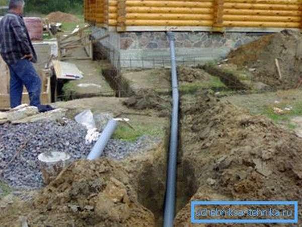 Вывод канализационной трубы