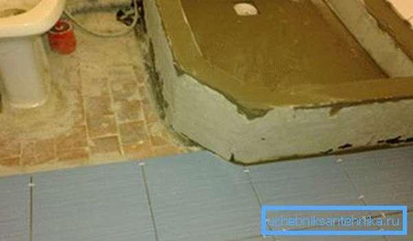 Заливка бетонной стяжки и затирка кирпичных боковых стенок.