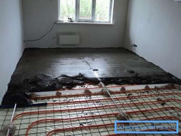 Заливка теплого пола бетоном