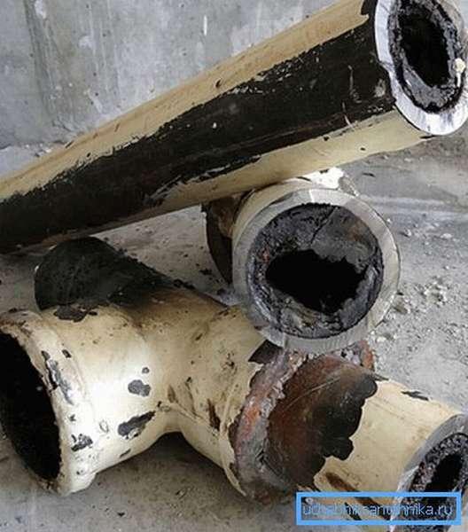 Засорение внутреннего просвета канализационной трубы.