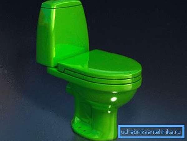 Зеленый унитаз-компакт отлично подойдет для домов, в которых есть дети, им очень нравится этот цвет